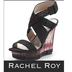 Auth Rachel Roy platform wedge leather sandals 8